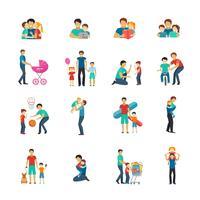 Ícones planas de paternidade vetor