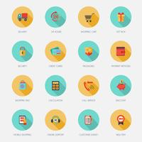Compras E-commerce Icons Flat vetor