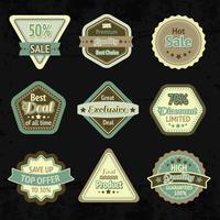 Conjunto de design de etiquetas e emblemas de venda