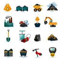Conjunto de ícones de mineração vetor