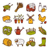 Conjunto de ícones de agricultura