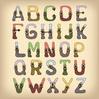 Fonte de alfabeto de esboço colorida vetor