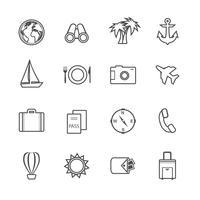 Conjunto de pictogramas de lazer de férias vetor