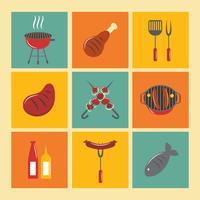 Conjunto de ícones de churrasqueira Flat vetor