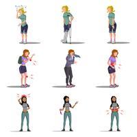 Conjunto de caracteres plana de doença medicina mulher vetor