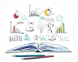 Doodle de negócios de livro aberto vetor