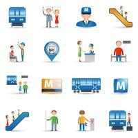 Conjunto de ícones do metrô vetor