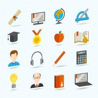 Ícones planos de aprendizagem