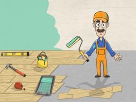 Trabalhador de revisão completa da casa