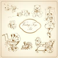 Conjunto de ícones retrô brinquedos desenhados
