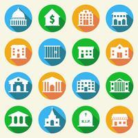 Ícones de edifícios do governo planas