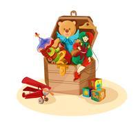 Caixa com brinquedos retrô