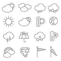 Linha de conjunto de ícones de símbolos de previsão do tempo