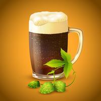 Cerveja escura e fundo de lúpulo