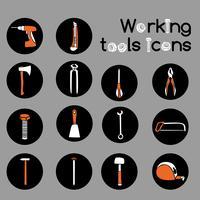 Conjunto de ícones de ferramentas de trabalho de carpinteiro
