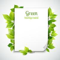 Modelo de quadro de folhas verdes