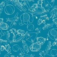 Esboço de brinquedos azul padrão sem emenda