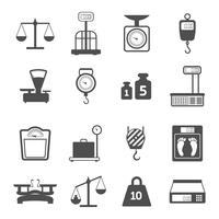 Conjunto de ícones de peso de escalas vetor