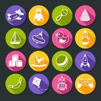 Conjunto de ícones redondos de brinquedos