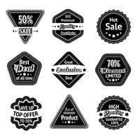 Conjunto de etiquetas e adesivos de venda