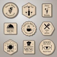 Rótulos de menu do restaurante vetor
