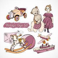Cartaz de conjunto de desenho de brinquedos vetor
