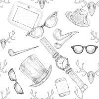 Sem costura mão desenhada hipster acessórios padrão