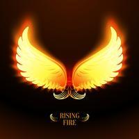 Brilhantes brilhantes asas de anjo de fogo vetor