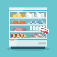 Supermercado refrigerando prateleiras de coleta de alimentos vetor
