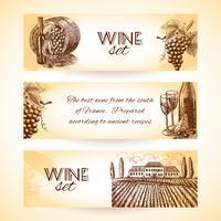 Conjunto de bandeira de vinho vetor