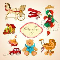 Conjunto de ícones coloridos de brinquedos desenhados