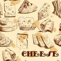 Esboço de queijo sem costura papel de parede
