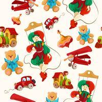 Brinquedos coloridos desenhados padrão sem emenda