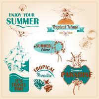 Emblemas de mar marinho de férias de verão definido?