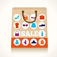 Design de sacola para roupas de compras vetor