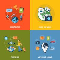 Composição de ícones plana de conceito de viagens vetor
