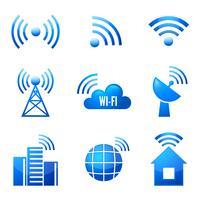 Conjunto de ícones brilhantes Wi-Fi vetor