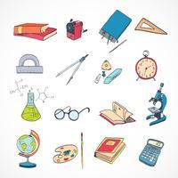 Cor de doodle de ícone de educação