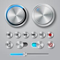 Coleção de botões de interface de metal