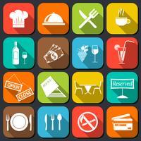 ícones de comida de restaurante planas