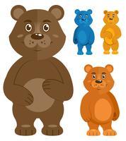 Conjunto de ícones de ursinhos decorativos