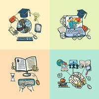 Esboço de ícone de educação on-line vetor