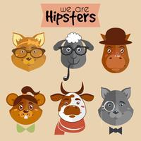 Coleção de animais de personagem de desenho animado hipster vetor