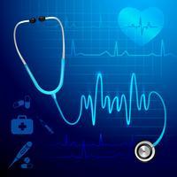 Estetoscópio, batida coração, fundo