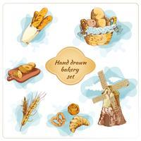 Conjunto de elementos decorativos de mão desenhada de padaria