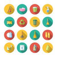 Conjunto de ícones de limpeza plana vetor