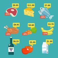 Comida de supermercado com etiquetas de preço