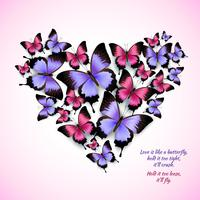 Padrão de forma de coração de borboletas coloridas vetor