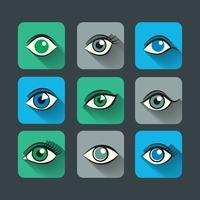 Conjunto de ícones de olhos plana