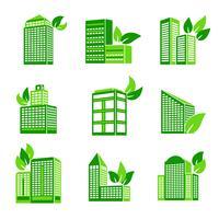 Edifício, eco, ícone vetor